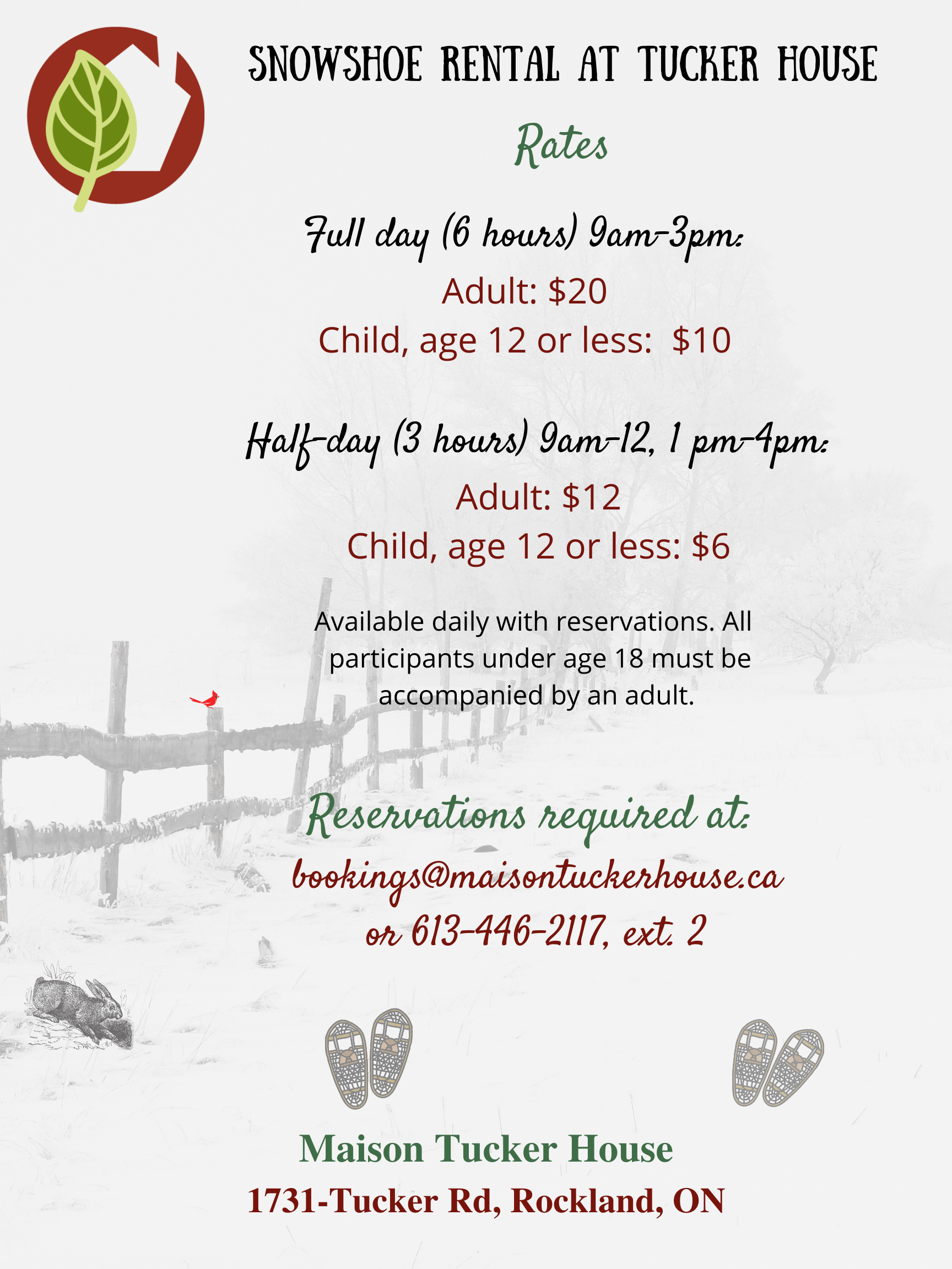 *UPDATED* Snowshoe Rental at Tucker House